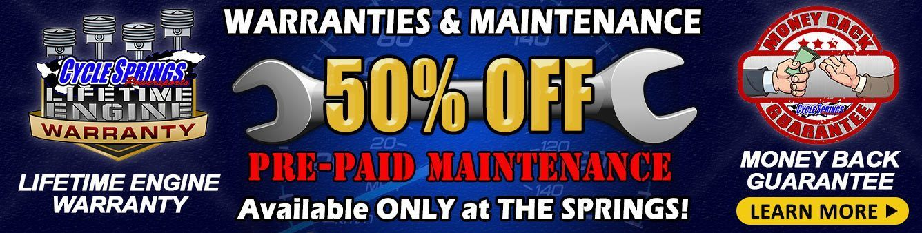 Pre-paid Maintenance at 50% Off - Only at Cycle Springs Powersports in Clearwater, FL